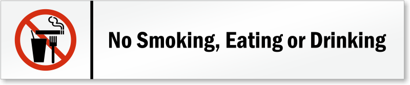 No Smoking, Eating Or Drinking Magnetic Door Sign, SKU - S-6469