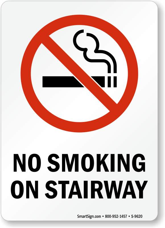 No Smoking Labels No Smoking On Stairway Sku S 9620