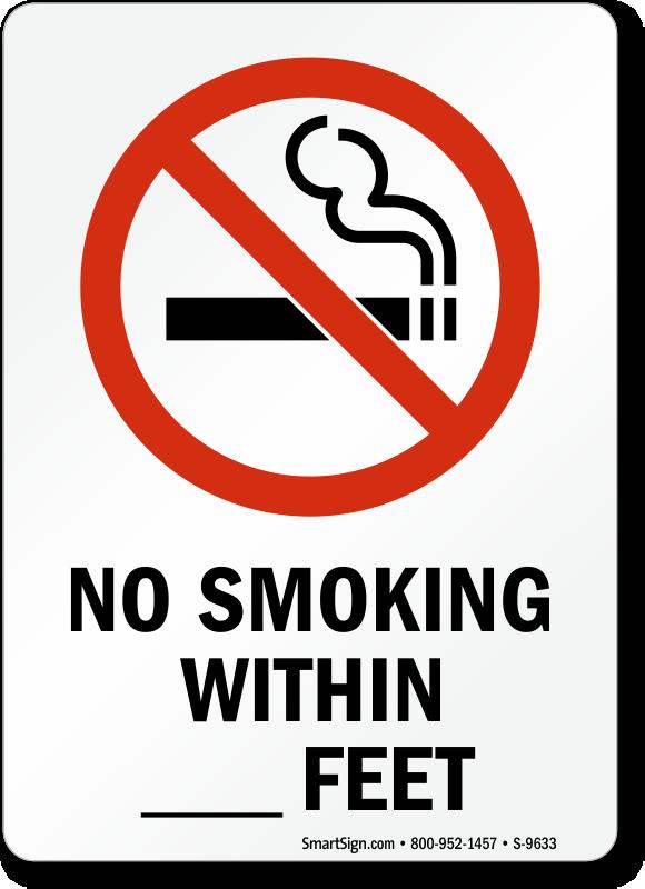 No Smoking Within Xx Feet Signs No Smoking Within