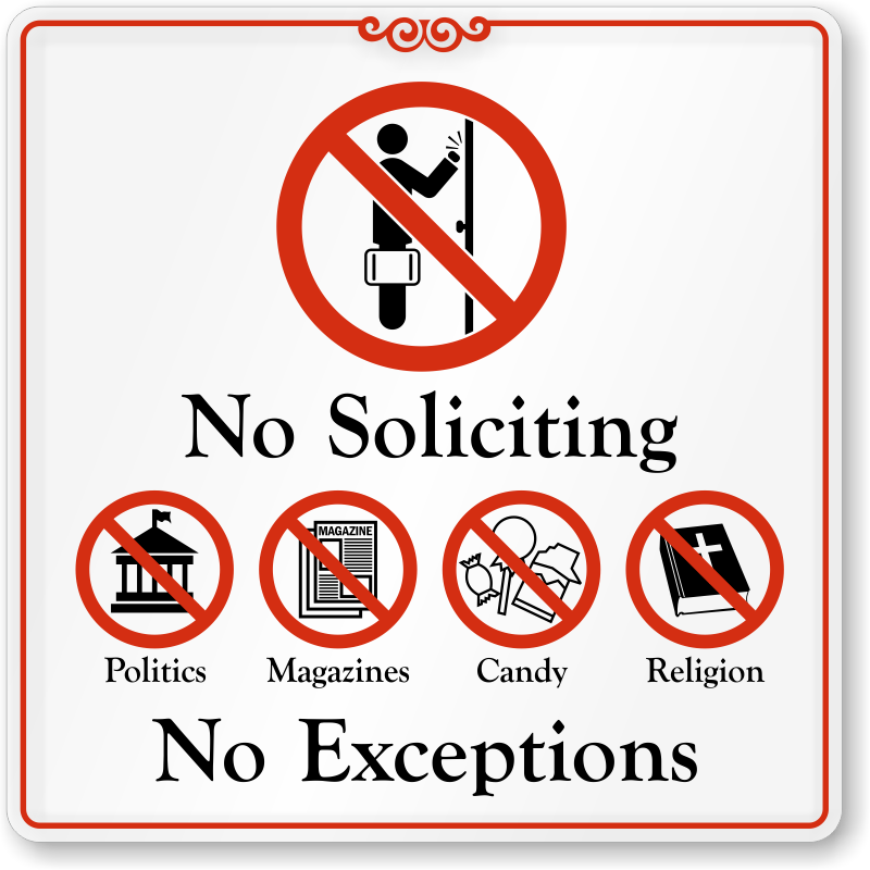 This is a picture of Sassy Funny No Soliciting Sign Printable