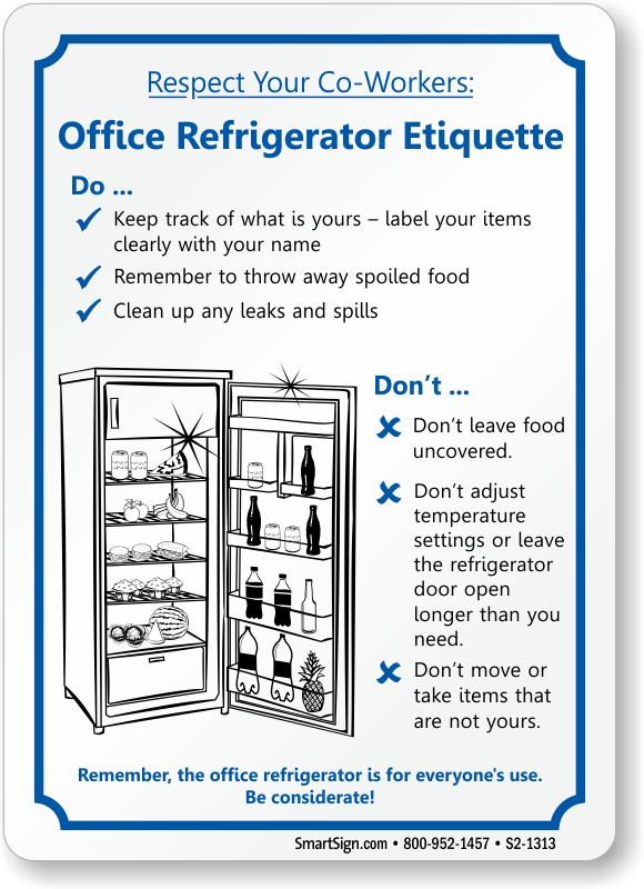 Office Refrigerator Etiquette Sign, SKU: S2-1313