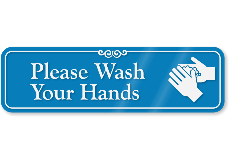 Please Wash Your Hands Sign With Graphic Sku Se 2657