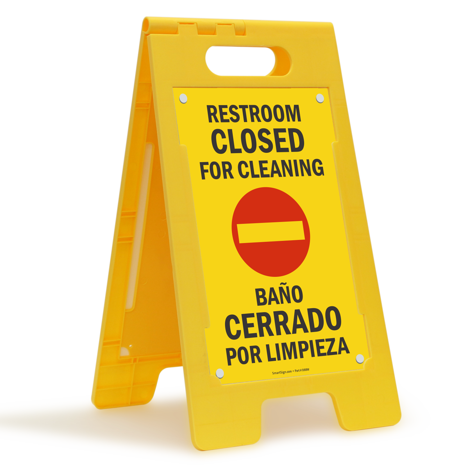 Bilingual Restroom Closed For Cleaning Free Standing Sign. Bilingual Restroom Closed For Cleaning Free Standing Floor Sign