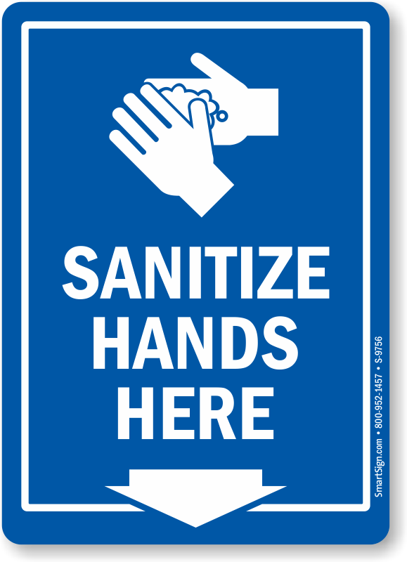 sanitize hands here sign with down arrow symbol sku s9756