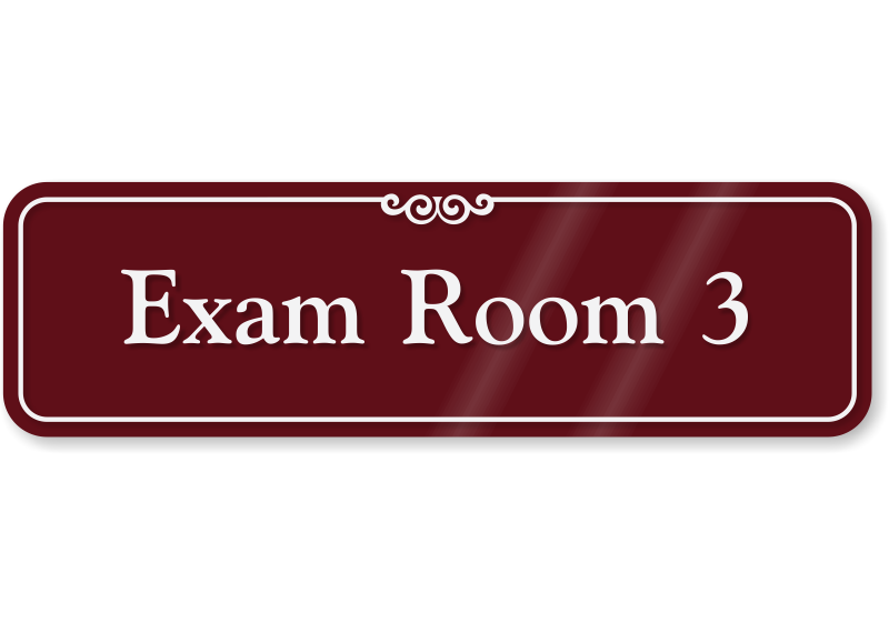 exam room 3 showcase wall sign sku se 2447