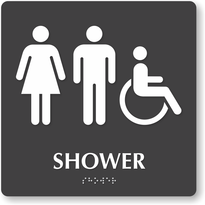 Shower Tactiletouch Braille Sign With Men Women ADA