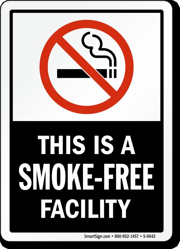 No Smoking Labels Smoke Free Facility Sku S 9642