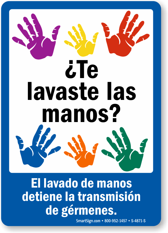 graphic regarding Printable Hand Washing Sign named Spanish Hand Washing Prevents the Unfold of Microorganisms Signal, SKU: S
