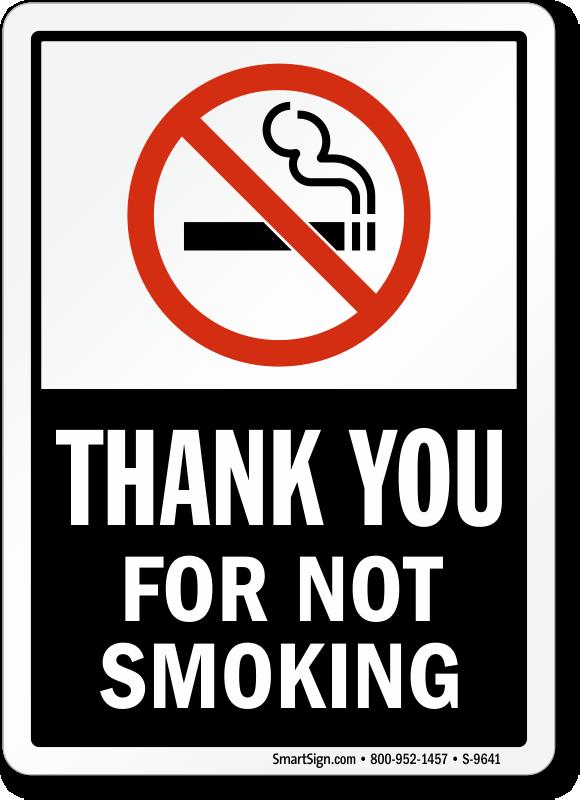 No Smoking Labels Thank You For Not Smoking Sku S 9641