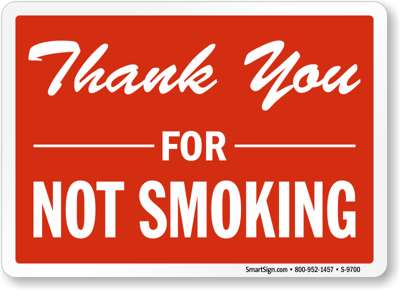 Thank You For Not Smoking Sign Smoking Prohibited Sign