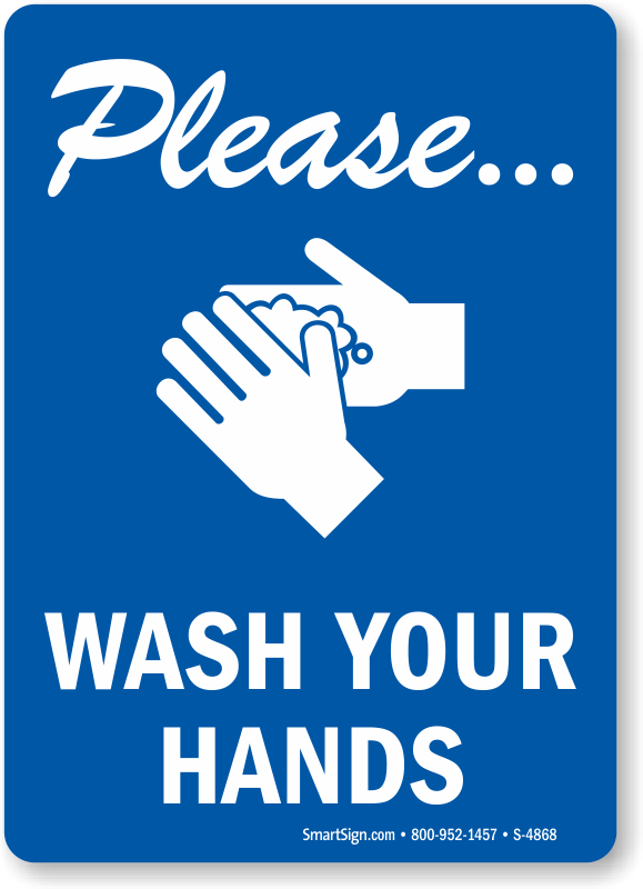 photograph about Wash Hands Sign Printable titled You should Clean Your Palms Signal, Vertical, SKU: S-4868