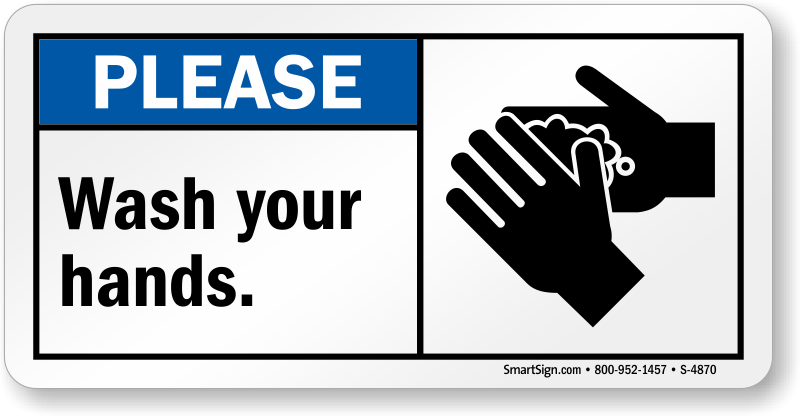 Please Wash Your Hands Sign Horizontal Sku S 4870
