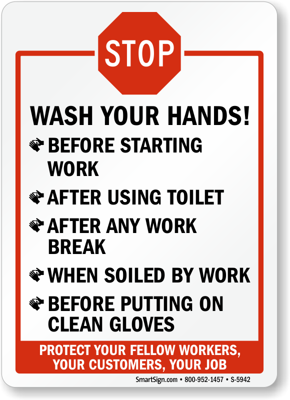 Stop Wash Hands Before Starting Work After Using Toilet