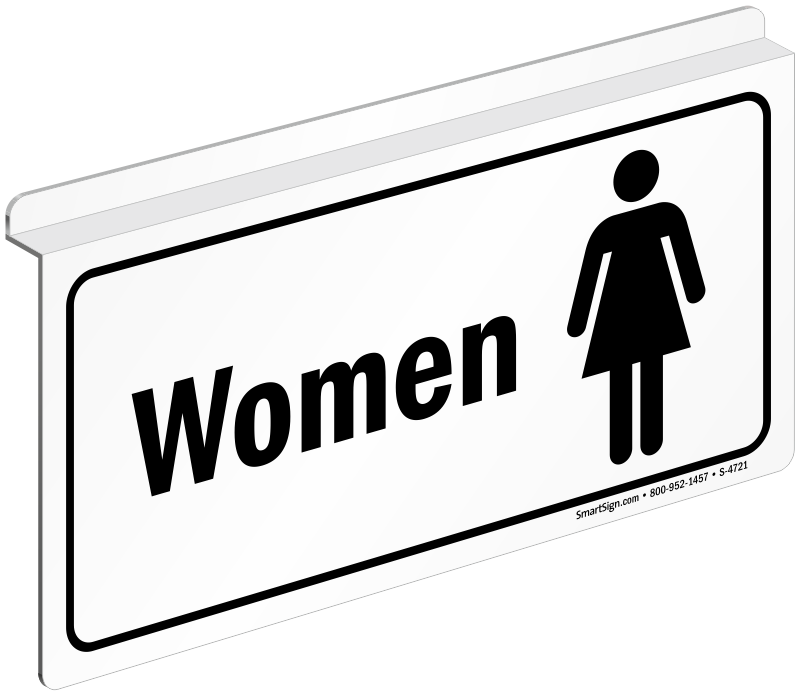 Login Funny Toilet Sign Door Sticker Custom Name Door: Drop Ceiling Projecting Women Restroom Sign, SKU: S-4721