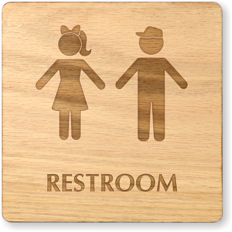 Boy And Girl Symbol Unisex Wooden Restroom Sign Sku Se 6987