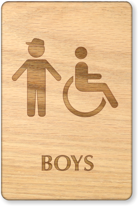 boys and accessible symbol wooden restroom sign sku se 6994