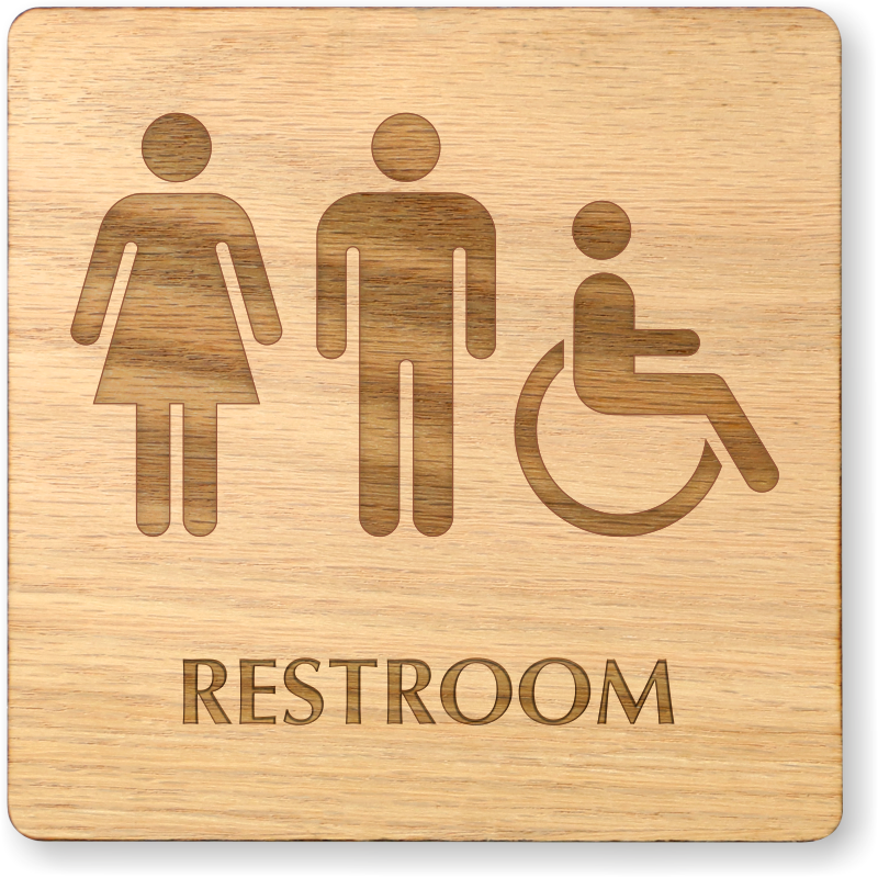 men women and accessible symbol wooden restroom sign sku se 6995