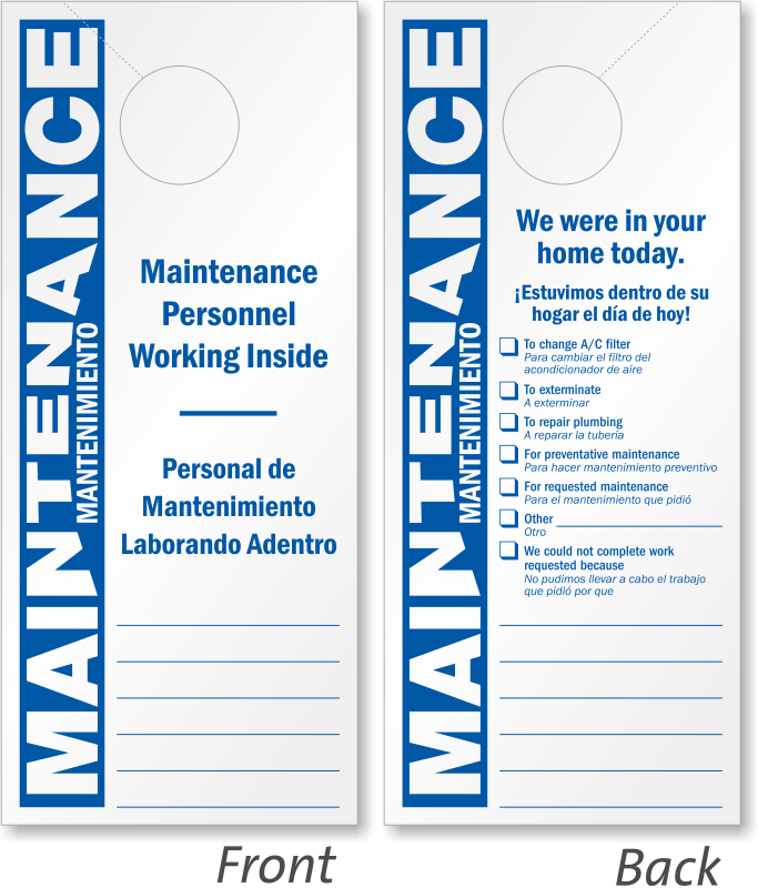 Sided Bilingual Maintenance Personnel Working Door Hanger Signs - Maintenance door hanger template