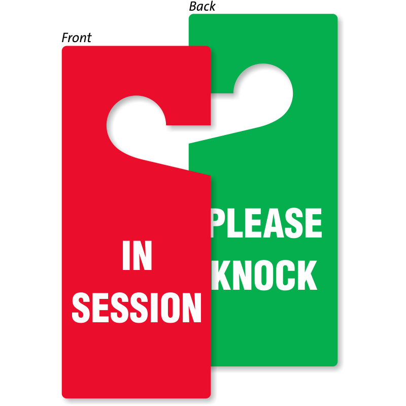 Door Knob Tags Door Knob Hang Tags - In session door hanger template