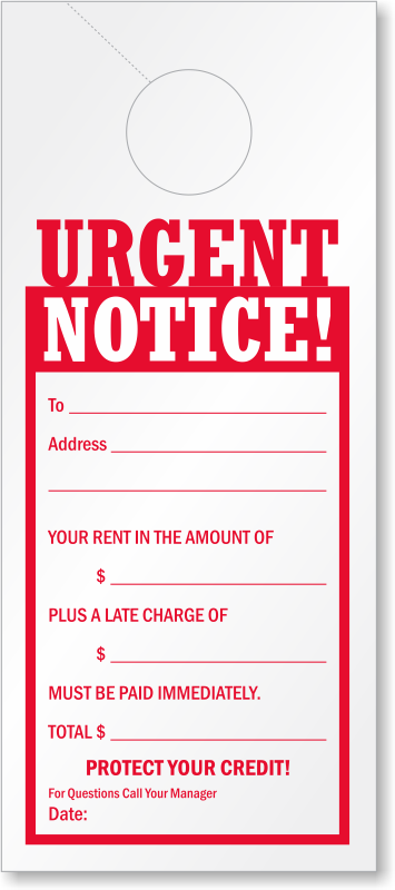late rent payment reminder urgent notice door hanger signs sku tg 0989