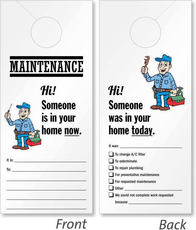 Someone In Home Now Door Hanger Maintenance Personnel Symbol Signs - In session door hanger template