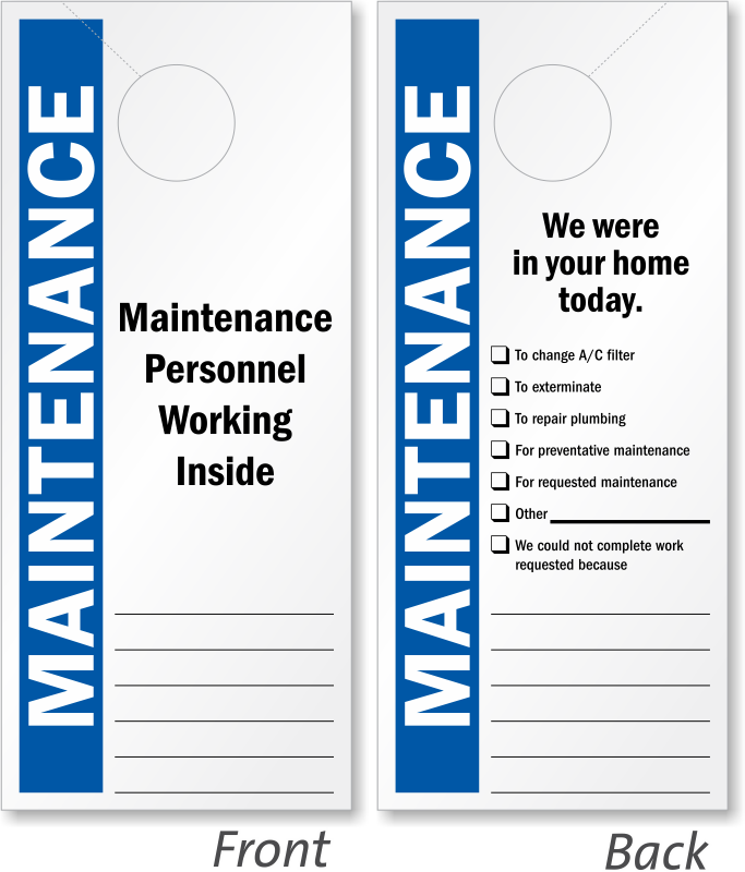 Maintenance Personnel Working Inside Sided Door Hanger Signs SKU - Maintenance door hanger template