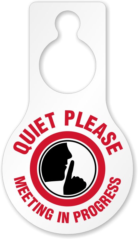 quiet please meeting in progress door hang tag 8 875 x 5 inches