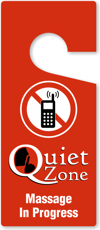 quiet zone massage in progress door tag 3 75 x 8 875 in sku tg 0965
