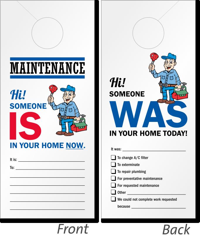 Someone Is In Your Home Maintenance Door Hanger