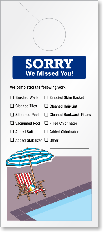 sorry we missed you pool service door hanger signs  sku