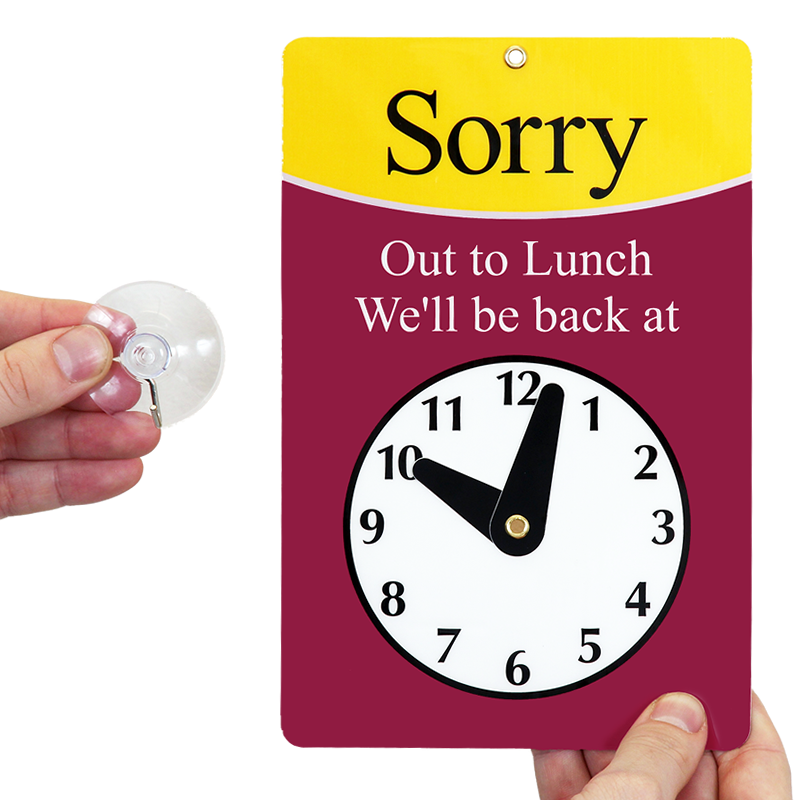 image regarding Printable Out to Lunch Sign named 2 Sided Welcome / Sorry Out Towards Lunch Be Back again Clock Indication, SKU