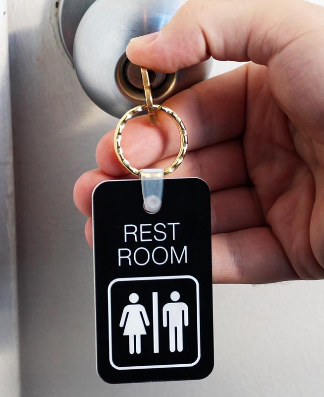 rest room unisex bathroom keychain rest room unisex bathroom key chain