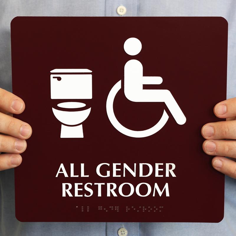 Bathroom Sign Next all-gender isa restroom braille, toilet symbol sign, sku - se-6060