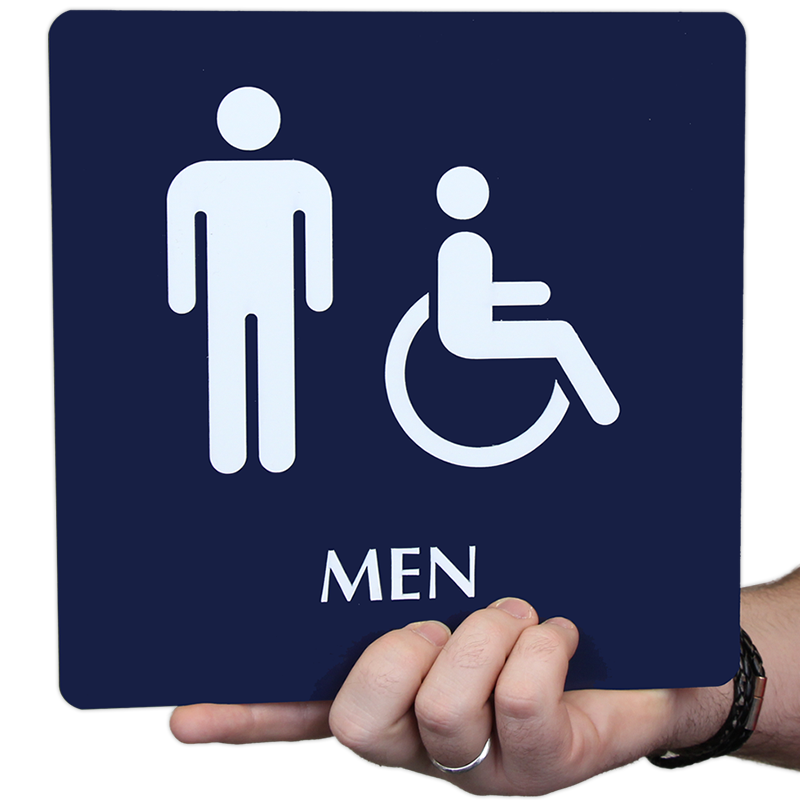 Braille Men Restroom Sign With Accessible Pictograms SKU SE - Professional bathroom signs