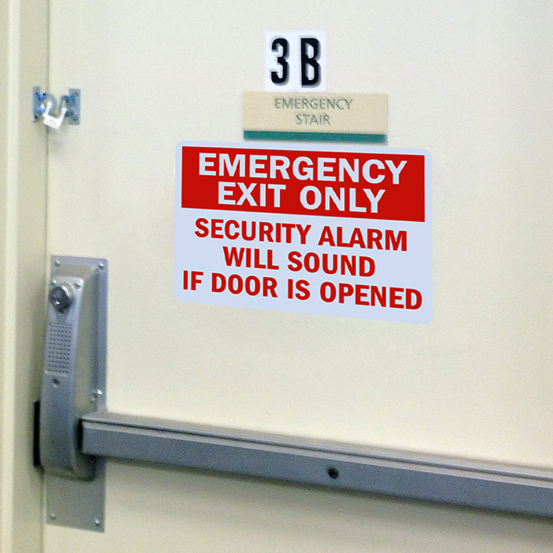 Emergency Exit Only Security Alarm Signs Fire And