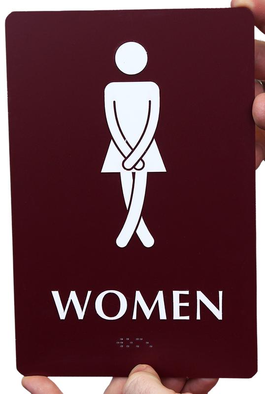 Ladies Bathroom: Cross-Legs Women's Bathroom Funny Sign, SKU
