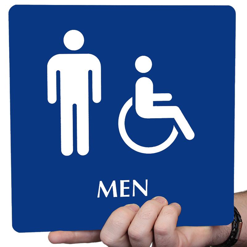 mens bathroom sign blue. men and handicap pictogram braille restroom sign mens bathroom blue