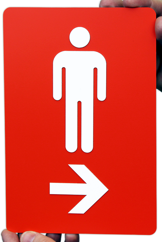 Directional Restroom Sign With Men And Right Arrow