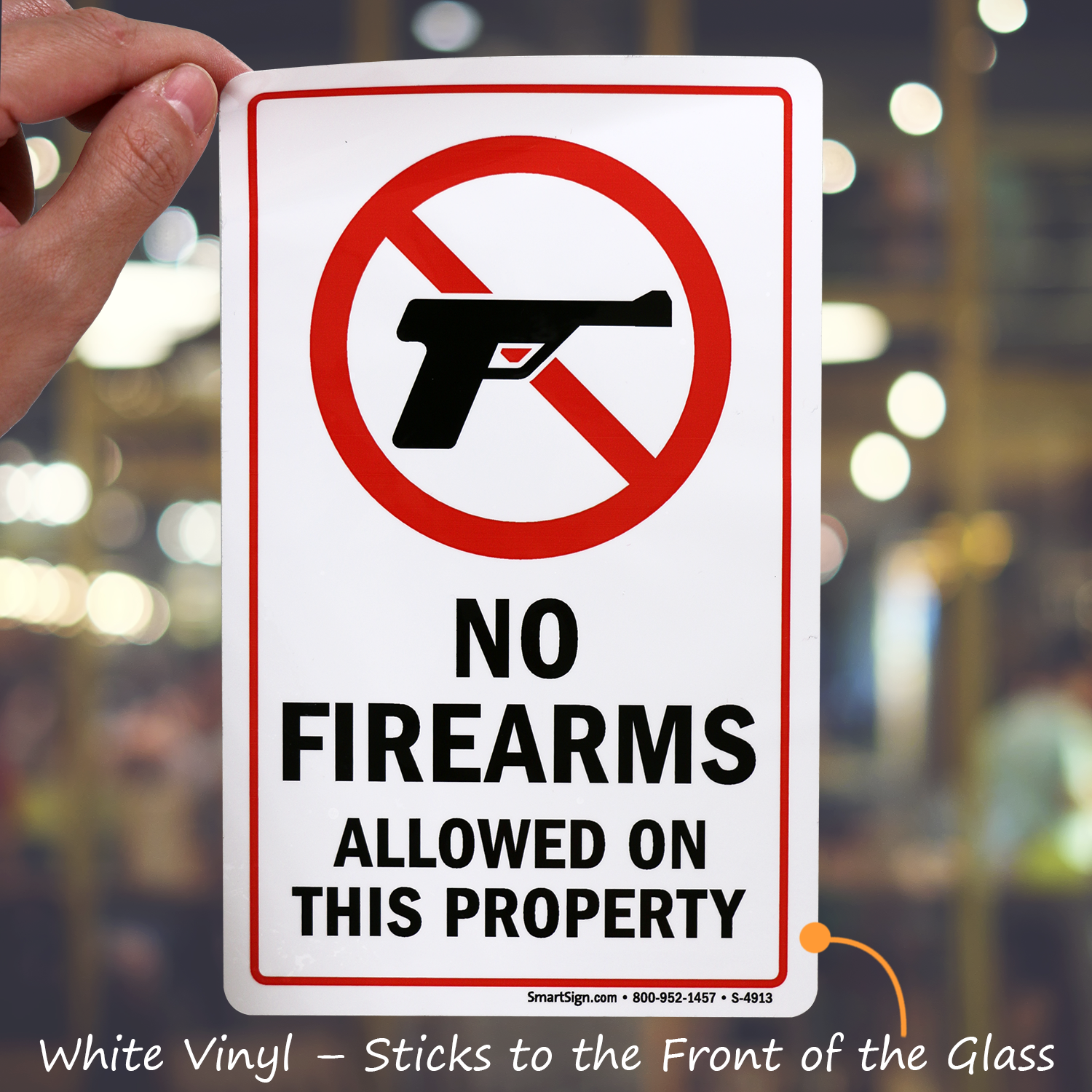 No Firearms Allowed On This Property Glass Decal Signs