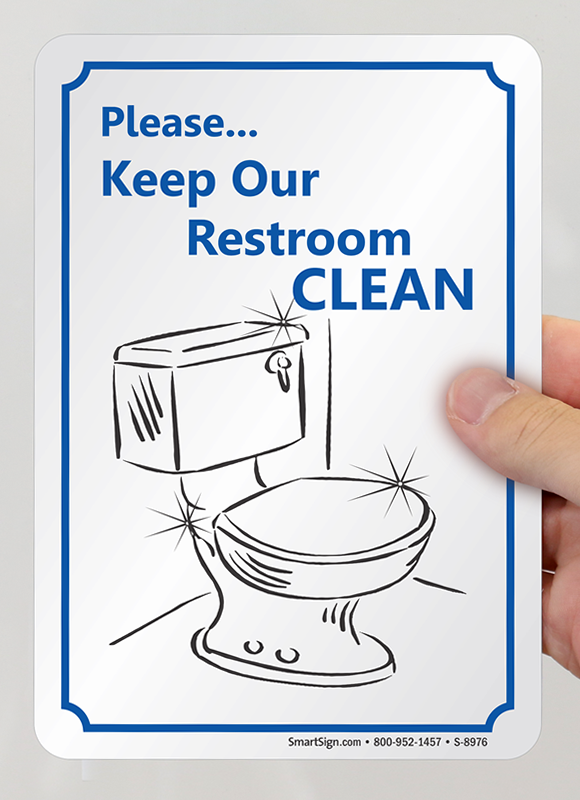Bathroom Signs Keep Clean please keep our restroom clean sign with graphic, sku: s-8976