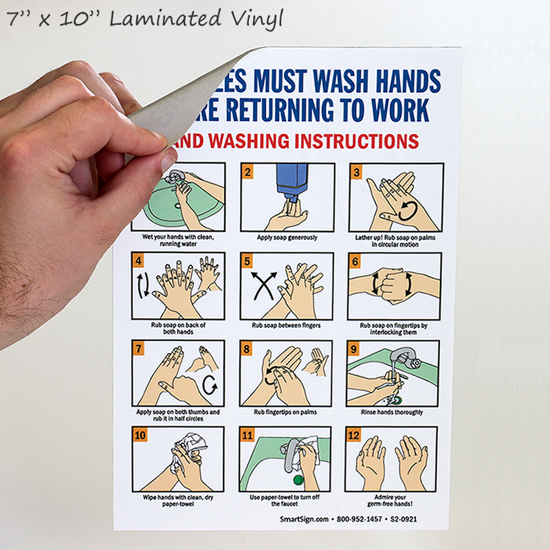 Employees Must Wash Hands Hand Washing Instructions Sign Sku S2 0921