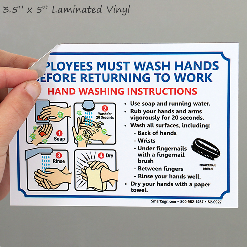 Employees Must Wash Hands Instruction Sign Ships Fast Sku S2 0927