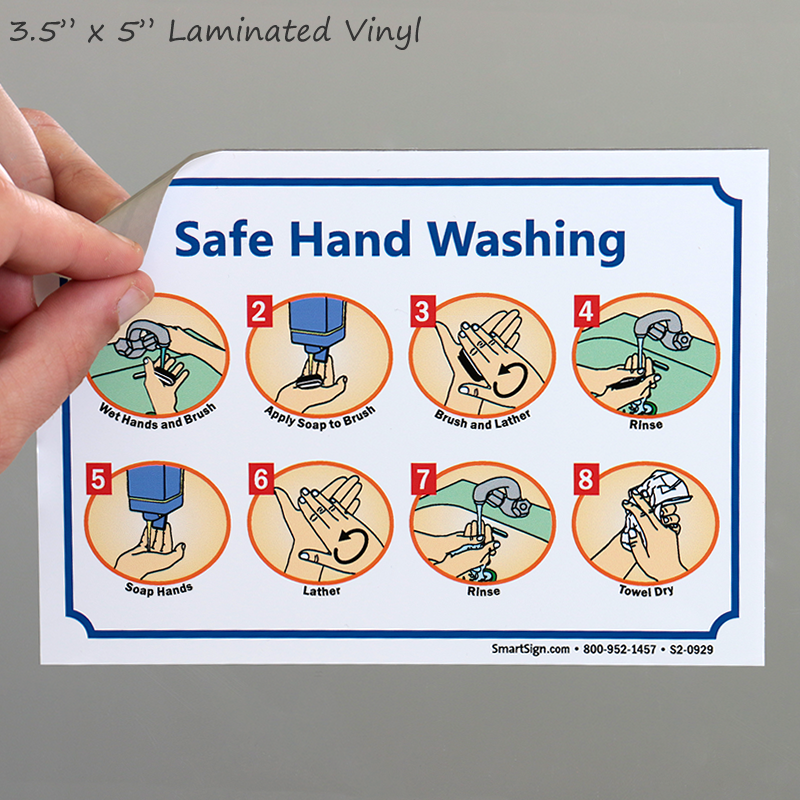 Safe Hand Washing Instruction Steps Sign Sku S2 0929