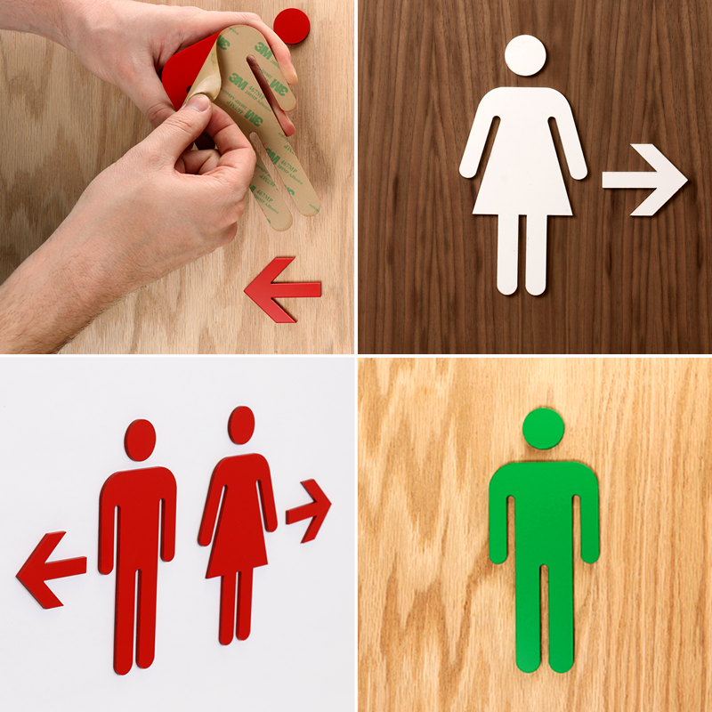 Bathroom Key Sign 2-sided women bathroom keychains or key tags, sku - se-2235