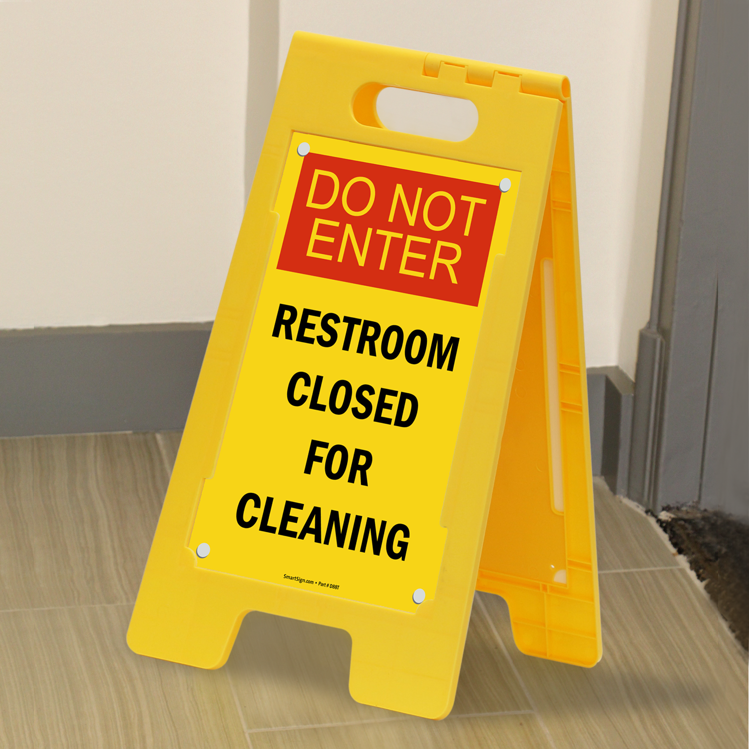 Do Not Enter  Restroom Cleaning Free Standing Signs. Restroom Closed For Cleaning Floor Free Standing Sign  SKU   SF 0190