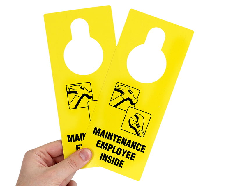 Maintenance Employee Inside Door Hanger Quick Delivery Signs SKU - Maintenance door hanger template