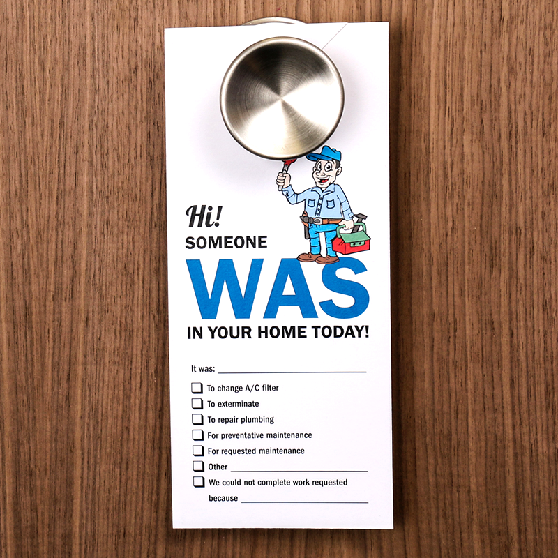 Someone Is In Your Home Maintenance Door Hanger Sided Signs SKU - Maintenance door hanger template