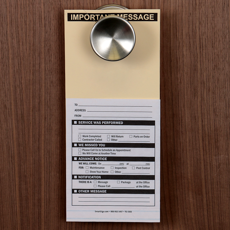 ... Important Message Two-Part Maintenance Door Hanger ... & Important Message Two-Part Maintenance Door Hanger Signs SKU: TG-1503