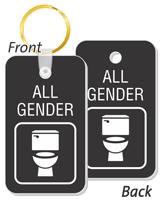 2-Sided All-Gender Restroom Key Tags, SKU: SE-7330