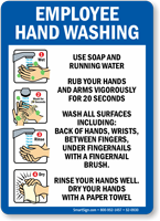 Employee Hand Washing Instructions For Soap And Water Sign